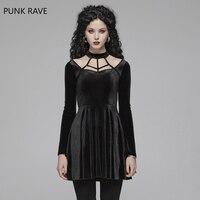 PUNK RAVE Women's Gothic Dress Black Daily Velvet Lace Up Gorgeous Retro Evening Party Night Club Sexy Women Summer Dresses