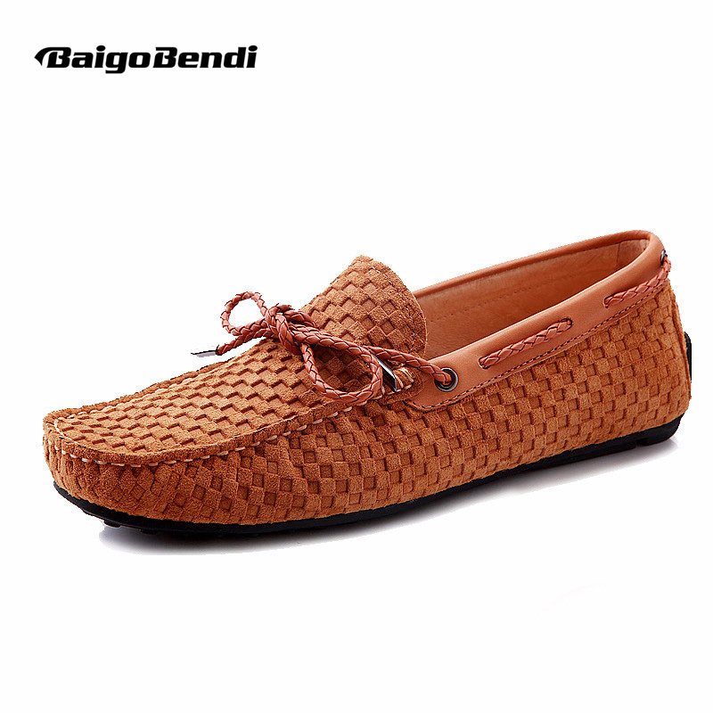 BIG SIZE 45 46 US 6-12 GENUINE Leather tie SLIP-0N Men Woven loafers fashion Casual Boat Shoes Driving Shoes