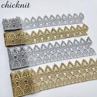 Solde de dentelle de couronne de broderie soluble dans l'eau argent argent or 2 tailles pour accessoires de tissu à coudre JB30