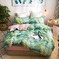 Домашний текстиль с рисунком джунглей листьев  постельное белье  детский подростковый набор постельных принадлежностей для девочек  белый ...