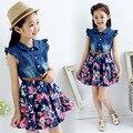 Hot adolescente meninas denim floral vestido novos vestidos de verão para meninas de 10 anos roupas de bebê menina crianças vestidos infantis
