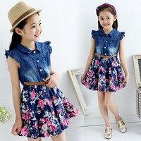 Hot tienermeisjes denim bloemen jurk nieuwe zomer jurken voor meisjes 10 jaar baby meisje kleding kinderen vestidos infantis