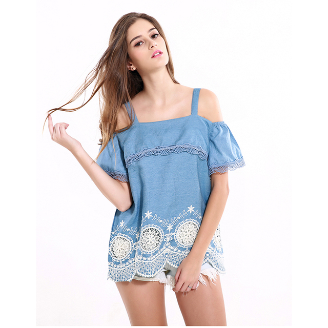 Women Tops Blue Off Shoulder Lace Hollow Out Tank Top 2017 Summer Fashion Backless Women Shirts Clothes