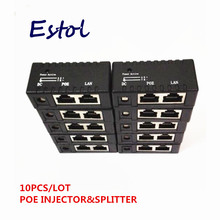 Hot whole sale bulk sale black 10 pcs/lot POE Injector Power over Ethernet Adapter For IP Camera,IP Phone,CCTV AP(China)
