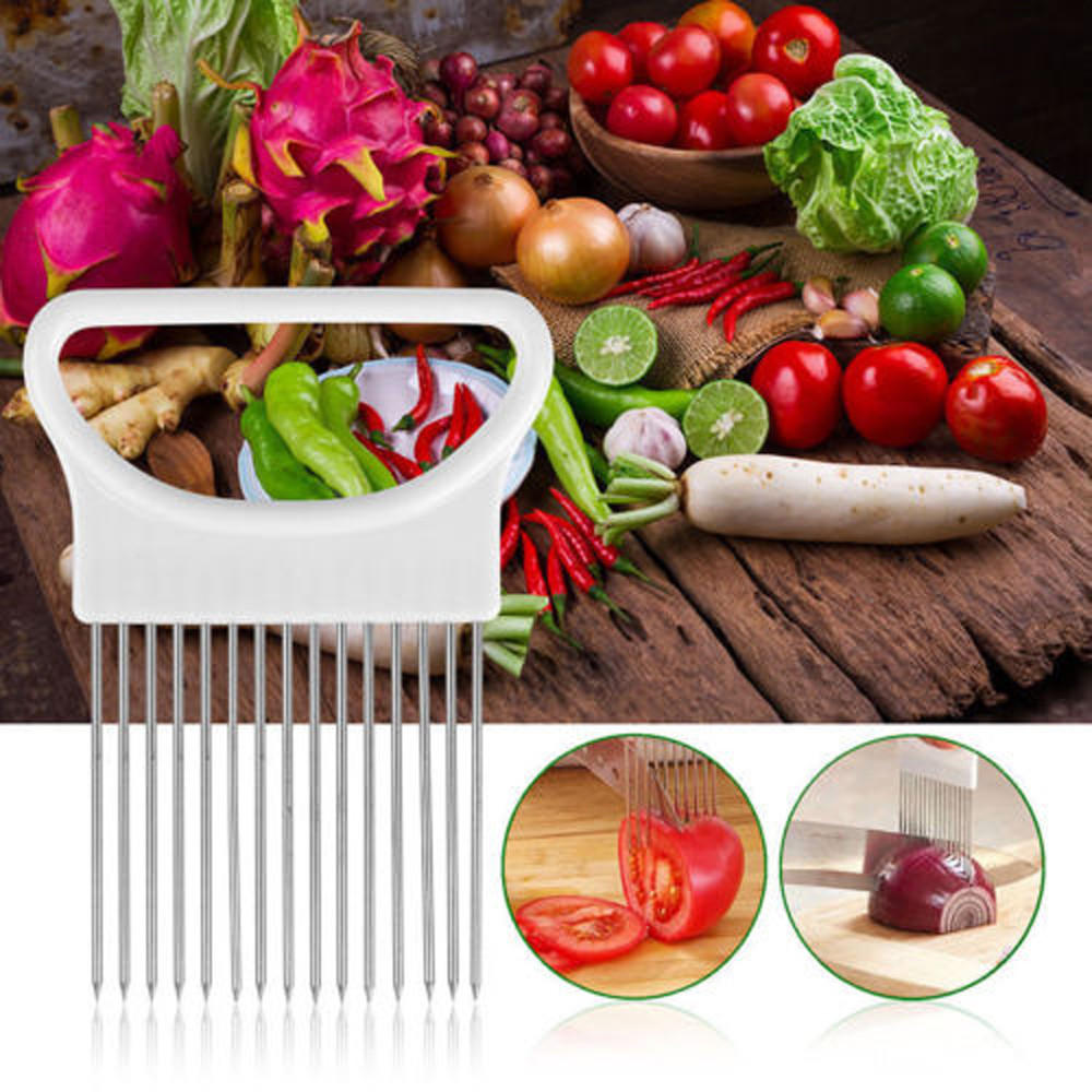 1 stk Let at skære løg Holder Gaffel Rustfrit Stål + Plast Vegetabilsk Skiver Tomatsnitter Metal Kød Nåle Gadgets Kød Frok