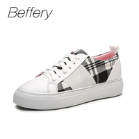 Beffery 2018 Spring Genuine Leather Shoes Women Lace Up Sneakers Fashion Lattice Graffiti Casual Shoes Women