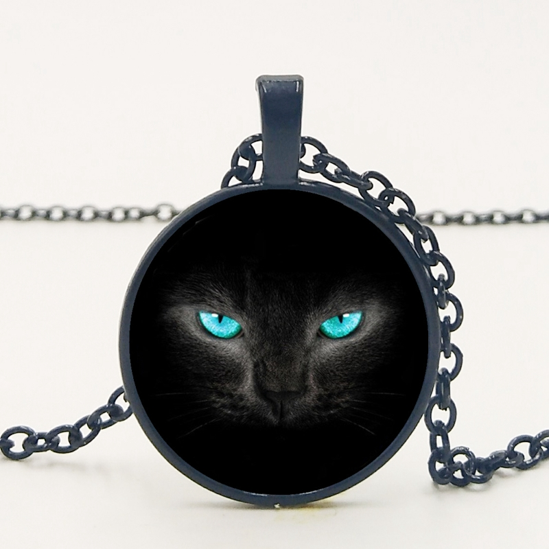 Handmade New Retro Exquisite Accessories Alloy Glass Blue Eyes Black Cat Time Pendant Necklace Family Photo Private Custom in Pendant Necklaces from Jewelry Accessories