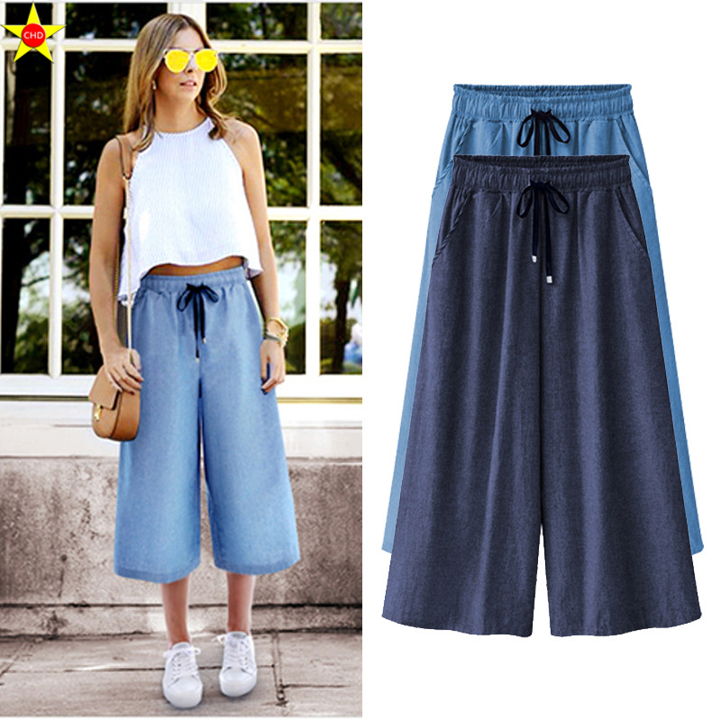 Trustful L-5xl Plus Size Casual Women Wide Leg Pants 2019 Summer Fashion Denim Ankle Length Pants Extra Large Loose Pants Hot Sale Comfortable Feel Bottoms Pants & Capris