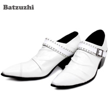 hot deal buy batzuzhi 6.5cm white wedding men's leather shoes pointed toe high-heeled men's shoes set buckle formal wedding/business shoes