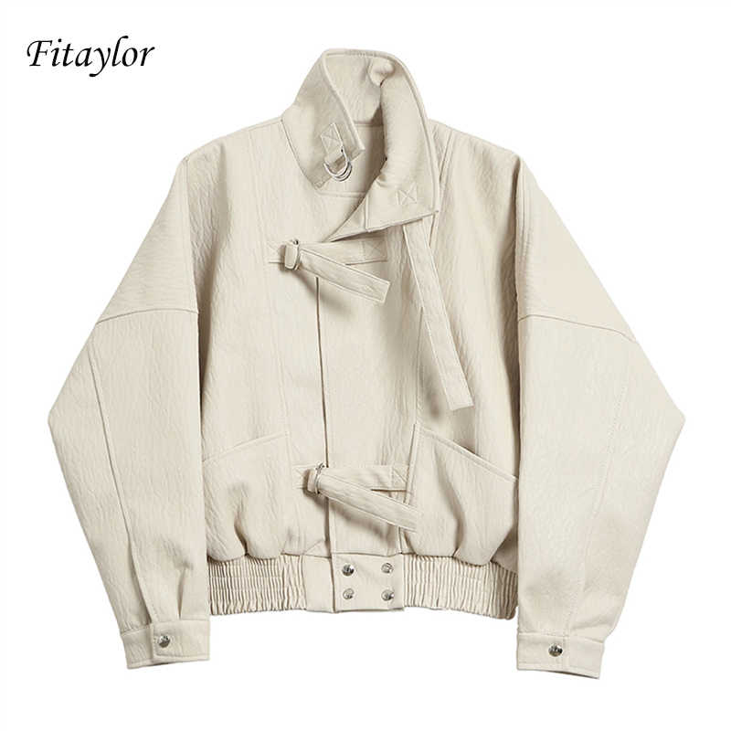 Fitaylor 2019 New Women Street Faux Leather Jacket Fashion Casual Loose Batwing Sleeve Washed Pu Leather Coat Biker Jackets
