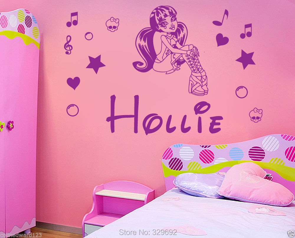 aliexpress com buy personalized name monster high draculaura aliexpress com buy personalized name monster high draculaura vinyl decal wall art mural kids children wall sticker home decoration tx 142 from reliable