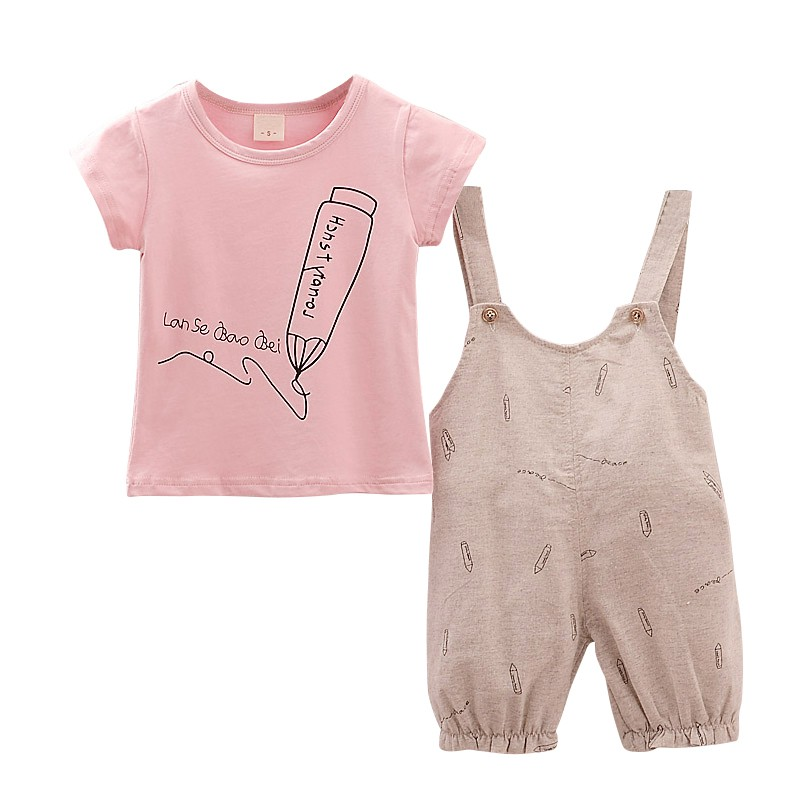 2018 Одежда для маленьких мальчиков и девочек летний комплект для малышей Шорты Рубашка детская одежда костюмы