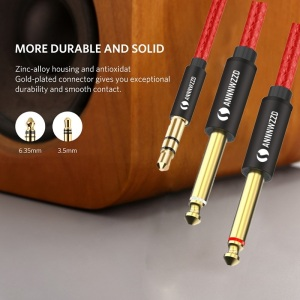Image 2 - Audio Cable 3.5mm to Double 6.35mm Aux Cable 2 mono 6.5 Jack to 3.5 Male  for Phone to Mixer Amplifier 6.35 Adapter