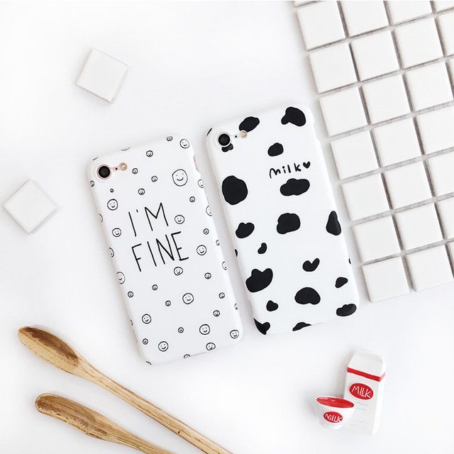 Simple Case Cow Milk Spotted /Emoji I'm Fine Pattern Phone Case for iPhone 7 7plus 6 6plus 6s 6splus for Friend Couple Gift