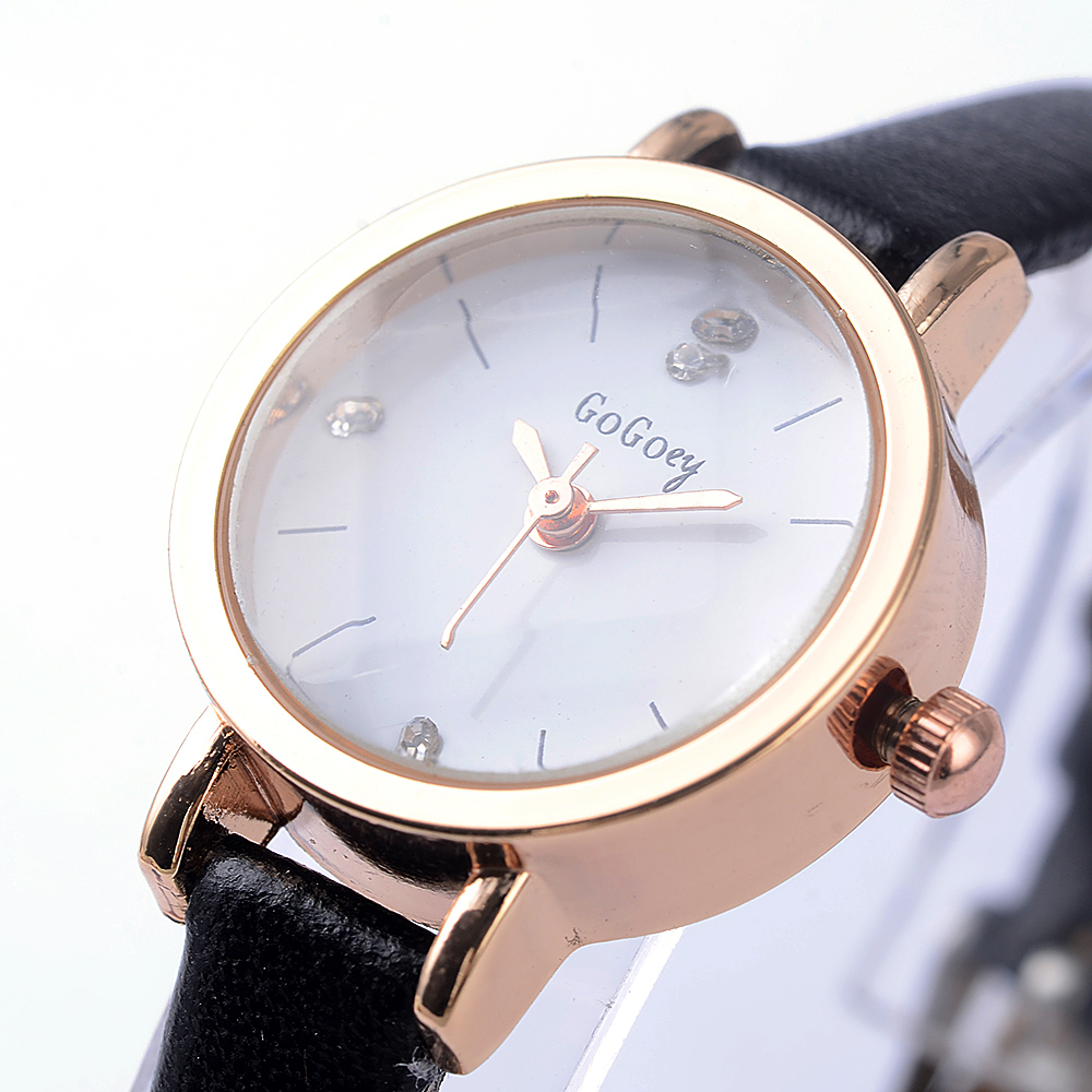 2017 Mini Ladies Watches Top Luxury Brand Gogoey Ultra Thin Rhinestone Crystal Designer Black Clock Women Leather Quartz Watch