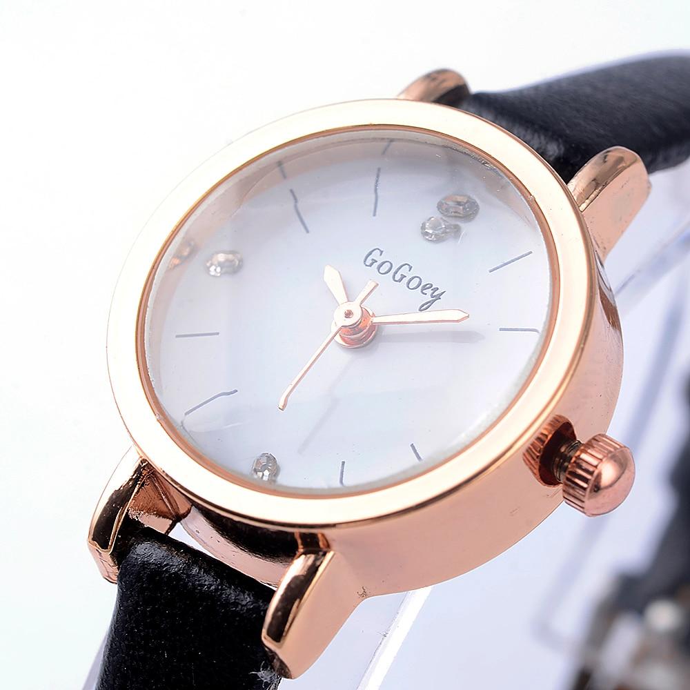 b191248ad54 2018 Mini Ladies Watches Top Luxury Brand Gogoey Ultra Thin Rhinestone  Crystal Designer Black Clock Women Leather Quartz Watch