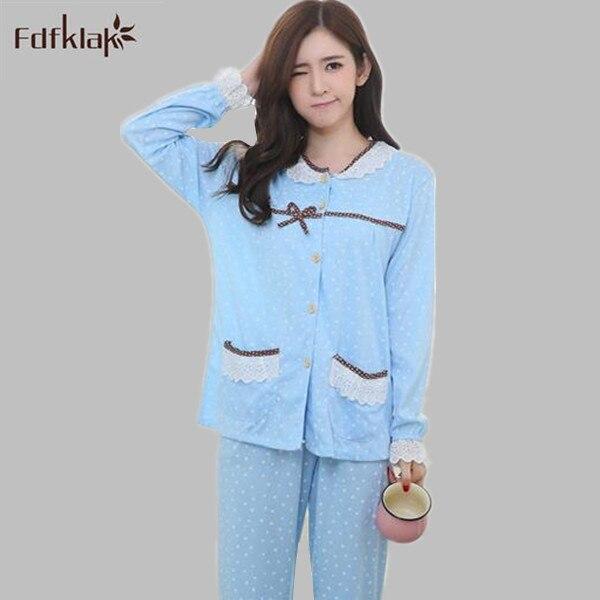 c6712122f3637 Fdfklak Pajamas Spring Autumn Print Pijama Casual Sleepwear For Women  Tracksuit Ladies Pyjamas Plus Size M L XL XXL 3XL E0797