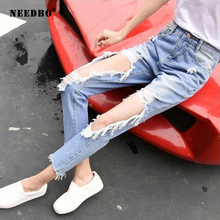 Pants Jeans Woman Plus Size High Waist Casual Women Trousers Pant Ripped for Light Blue Boyfriend