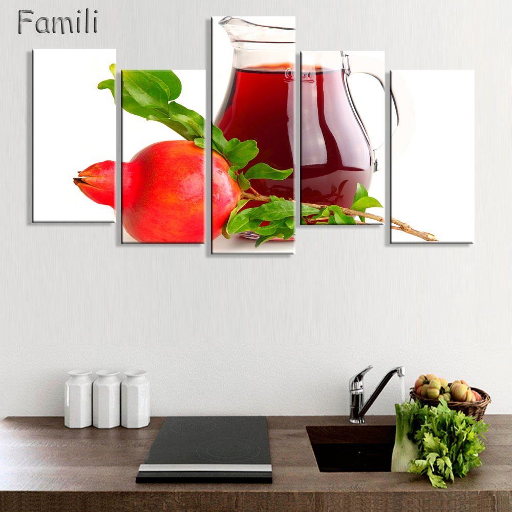 Fruit Lemon Juice Green Flowers Canvas Painting Modern Wall ...