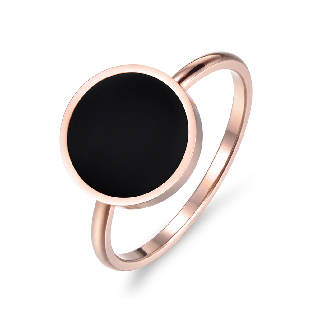 JeeMango Vintage Wedding Ring for Women Minimalist Rose Gold Color Round Acrylic Stone 316L Stainless Steel Rings Jewlery R17041(China)