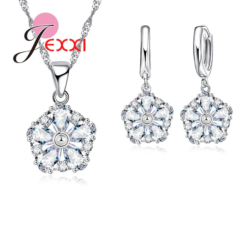 497caba23c39 JEXXI encanto cristalino redondo mujeres Boda nupcial joyería establece 925  plata esterlina declaración collar pendientes mujer Bijoux