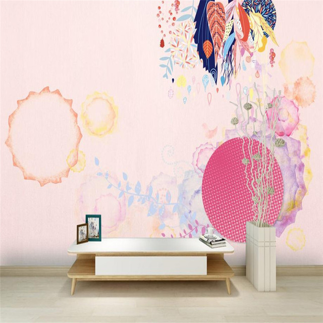 Pink Wallpaper For Walls 3 D Wall Muaral Papers Custom Modern Aesthetic Girls Room