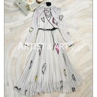 Svoryxiu High End Custom Silk Long Dress Women's Black Dot Heart Shaped Printed Slim Pleated V Neck Maxi Dress + Sashes