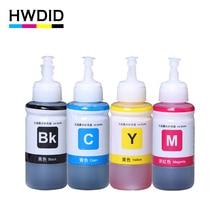 HWDID 4Pcs 70ml Refill Dye Ink for Epson L800 L801 L100 L110 L111 L201 L210 L211 L300 L312 L355 L350 L362 L366 L550 L555 L566