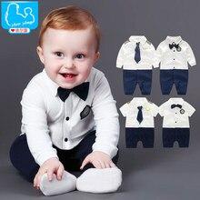 Джентльмен боди галстук досуг комбинезон новорожденный лук малыша детский мальчиков мальчик