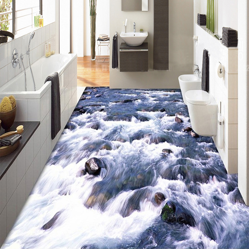 Custom 3d floor wallpaper bathroom floor sticker mural pvc for Bathroom mural wallpaper