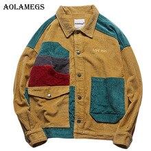 Aolamegs Ceket Erkekler Kadife Patchwork erkek Ceket Cepler Yüksek Sokak Moda Casual Dış Giyim Erkekler Ceket 2019 Sonbahar Streetwear