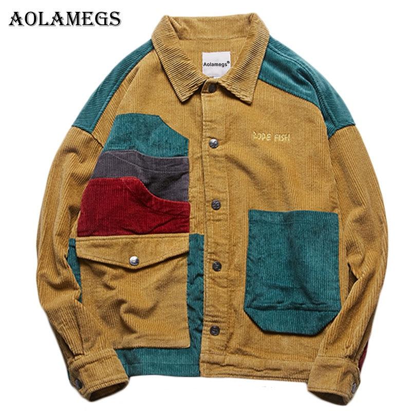 Aolamegs Veste Hommes En Velours Côtelé Patchwork Hommes Veste Poches Haute Rue de Mode Casual Outwear Hommes Manteau 2018 Automne Streetwear