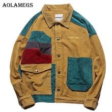 Aolamegs מעיל גברים קורדרוי טלאים גברים של מעיל כיסים גבוהה רחוב אופנה מזדמן להאריך ימים יותר גברים מעיל 2019 סתיו Streetwear