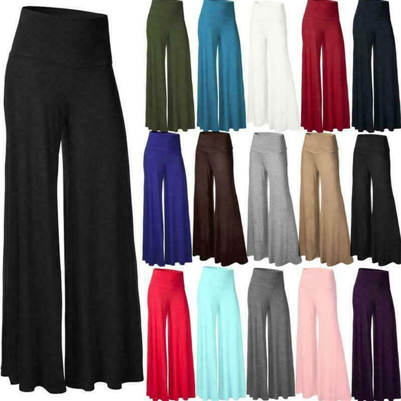 Womens Plus Size High Waist Wide Leg Maxi Long Pants Solid Color Office Lady Loose Stretch Pleated Palazzo Lounge Trousers S-3X