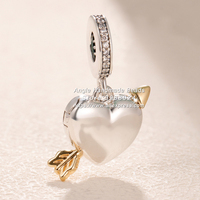 2019 Shine Two Tone Arrow of Love Dangle Gold Overlay Silver Hang Charms Beads Fit All European Pandora DIY Bracelets Necklaces