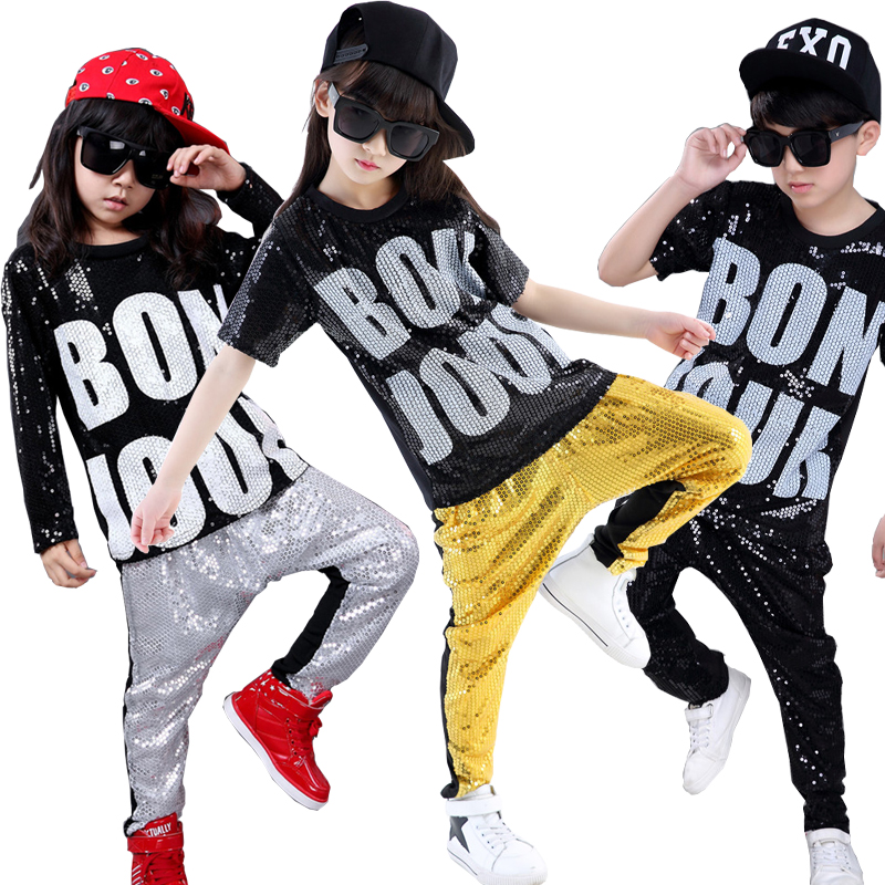 Girls Boys Sequins Modern Jazz Dance Outfits Tops Pants  Ballroom Hip Hop Dancing Suit Kids Adults Stage Wear Costumes Clothing