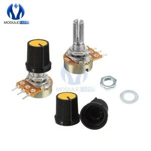 5PCS B1K B2K B5K B10K B20K B50K B100K B250K 5B00K B1M Ohm Potentiometer Resistor Linear Taper Rotary Potentiometer Caps Knob