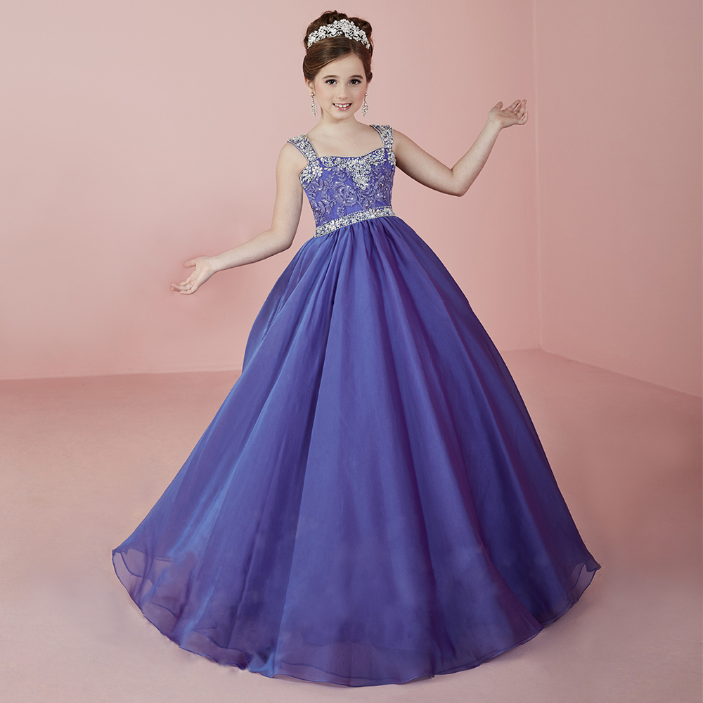 Charming Purple Crystal Beading Girl Pageant Dresses Lace Up Open Back Wide Pleated Girl Ball Gowns for Birthday Party 2-12 Yrs gorgeous lace beading sequins sleeveless flower girl dress champagne lace up keyhole back kids tulle pageant ball gowns for prom