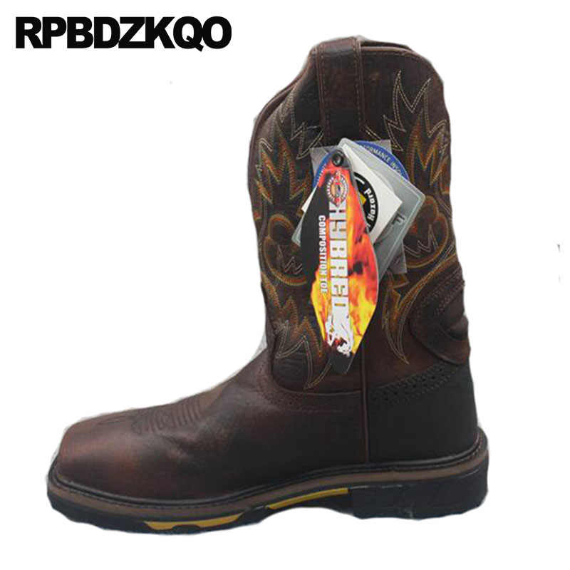 9b1251f98 Slip On Cowboy Boots Mens Genuine Leather Shoes Tall Mid Calf Fall  Embroidered Square Toe Cowgirl