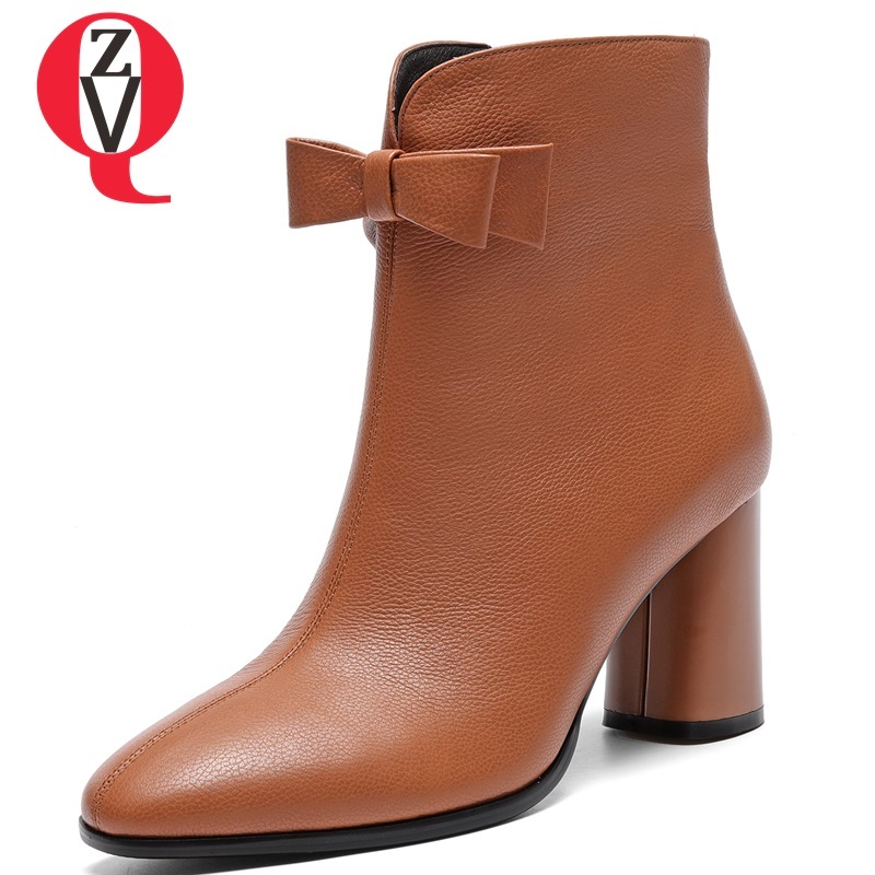 ZVQ 2018 new fashion square toe zip high square heel genuine leather winter warm women shoes outside bowties party ankle boots zvq 2018 winter hot sale new fashion square toe zipper high square heel genuine leather women ankle boots outside warm shoes