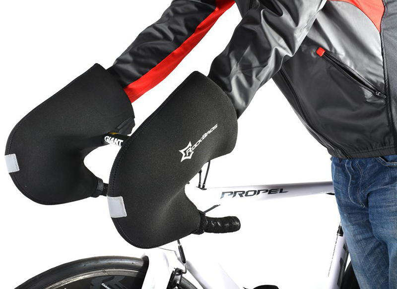 ROCKBROS Winter Cycling <font><b>Gloves</b></font> Bicycle Handlebar Windproof Warm Winter Cycling <font><b>Gloves</b></font> Free Size Mountain bike Gauntlets RK0005