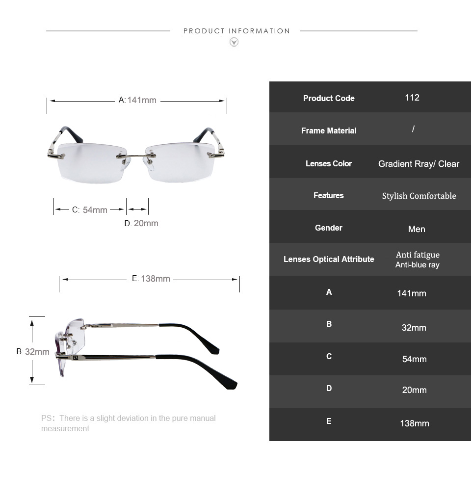 088fd9cd9f Rimless Glasses Reading Male Eyeglasses Readers Anti Fatigue Gray Lenses  Presbyopic Glasses 1.0 1.5 2.0 2.5 3.0 Diopter 112.