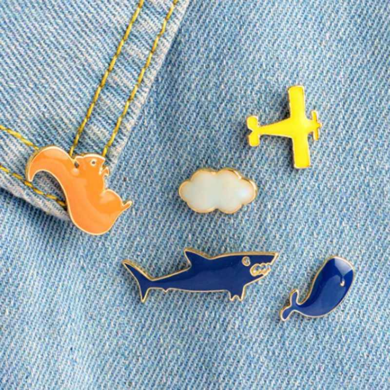 Cartoon Aircraft Cloud Shark Whale Squirrel Brooch Pins Air Plane DIY Denim Jacket Pin Badge Jewelry Gift For Kids Girl