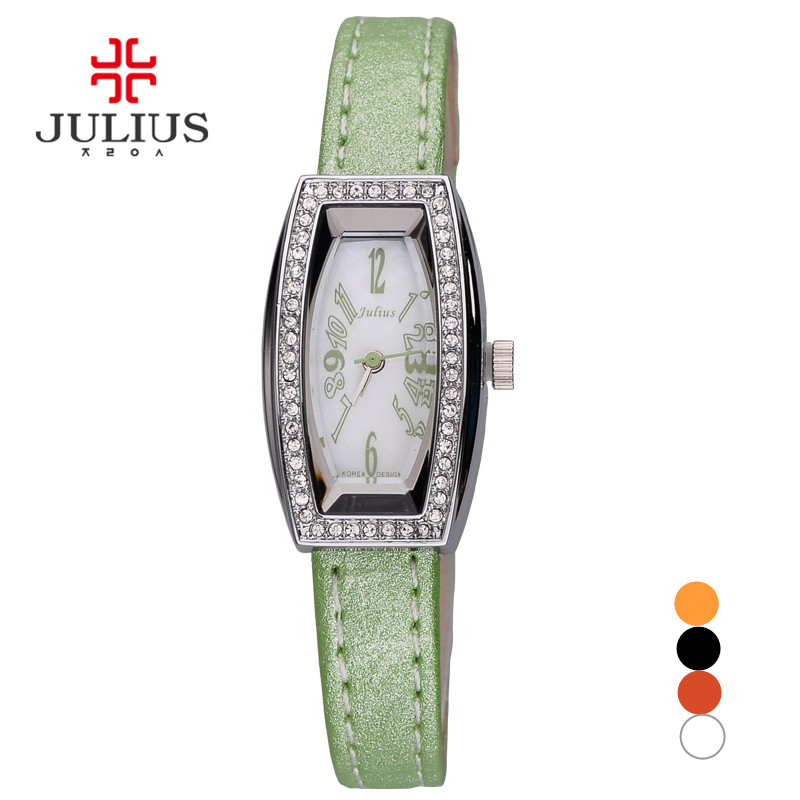 Julius Lady Women's Wrist Watch Elegant Shell Rhinestone Business Fashion Hours Dress Bracelet Leather Girl Birthday Gift 676