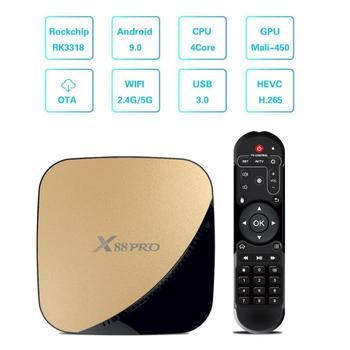 X88 Pro Android 9,0 Smart tv Box 4 Гб 64 Гб RK3318 2,4/5G Dual Wifi 4 K HDR  USB3 0 Google PlayStore Netflix Youtube медиаплеер