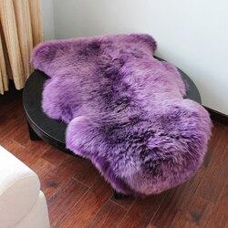 Prawdziwy australijski czystej wełny dywan pokój dzienny dywan do sypialni owce skóry sofa poduszki okno czerwony koc poduszki dywan dostosowane w Dywany od Dom i ogród na