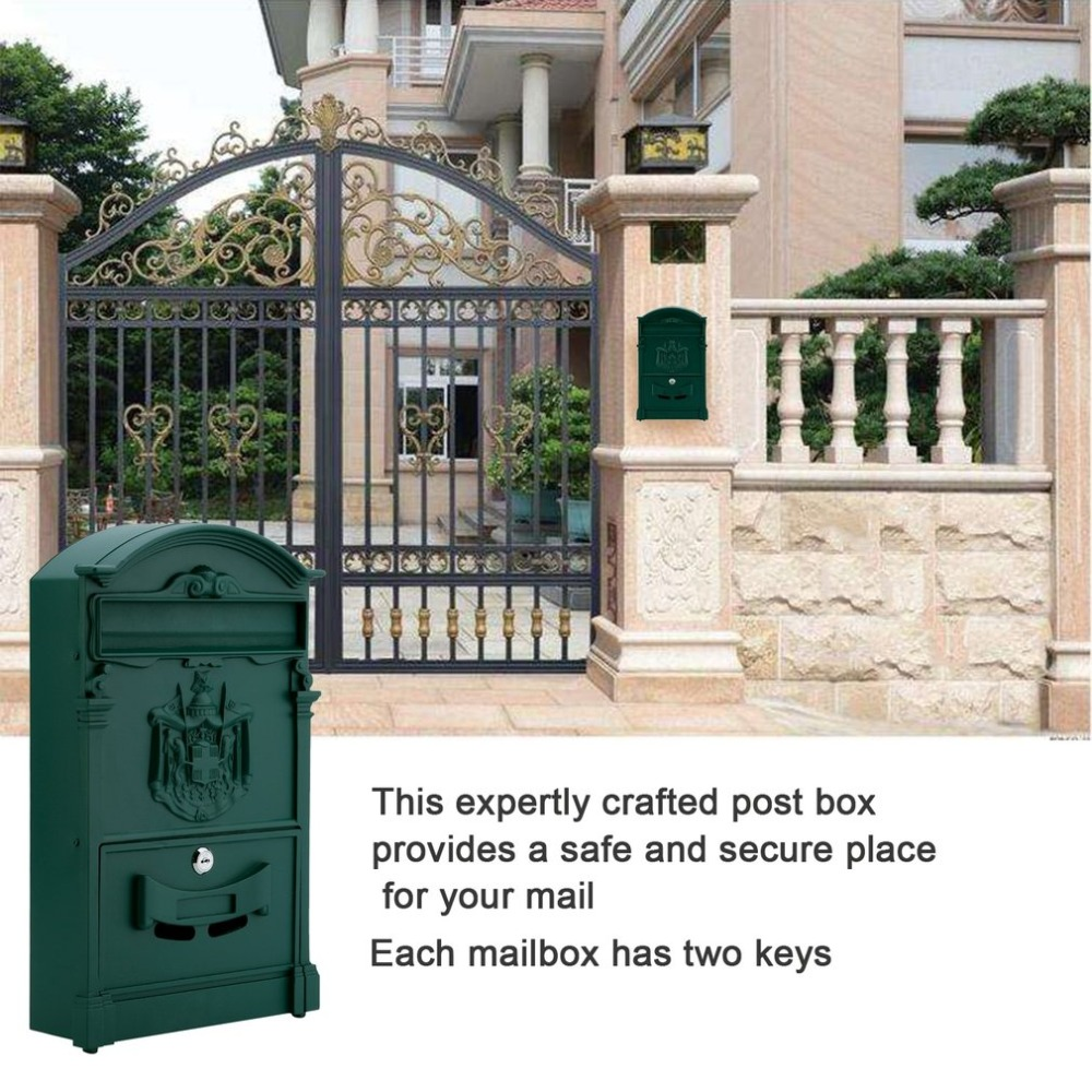 (DE) New Nostalgia Wall Mailbox Antique Letter Box Cast Aluminum Secure Postbox Durable Mail Box Lockable Letterbox For Family
