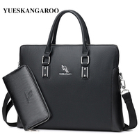 YUES KANGAROO Brand Men Casual Shoulder Bag Leather Handbag Laptop Messenger Bag Tote Business Briefcase A4