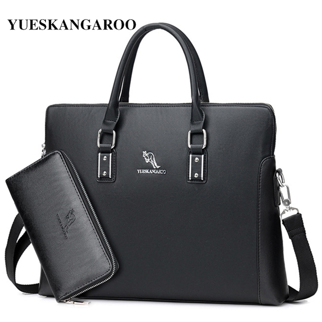 YUES KANGAROO Brand Factory Sale High Quality Leather Men Briefcase 14 inch  Leather Men Handbag For fc4d933180b4b