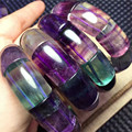 Genuino Colores de La Mezcla Natural Fluorita Fluorita Pulseras Para Las Mujeres Transparente Rectángulo Perlas Tramo Pulsera Cristalina del Encanto